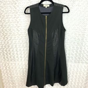 UMGEE Black Zip Up Dress Faux Leather Details